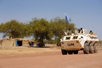 UN peacekeepers patrol the Abyei area (file photo).