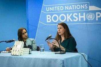 Author Caroline Criado Perez (right) and UN Senior Gender Advisor Nahla Valji discuss her groundbreaking book 'Invisible Women' at the United Nations Bookshop at headquarters in New York..