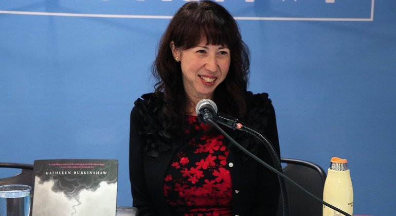 Kathleen Burkinshaw, author of the novel The Last Cherry Blossom, presenting her book at the UN Bookshop.