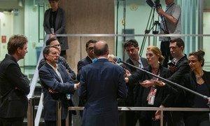 各国驻联合国纽约总部的记者在工作。(资料图片)