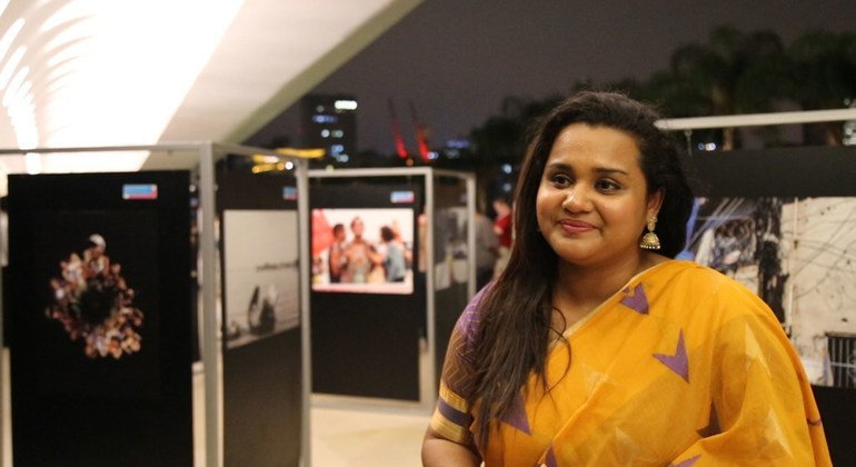 Jayathma Wickramanayake, Secretary-General's Envoy on Youth at the Museum of Tomorrow exhibit on human Rights in Rio de Janeiro.
