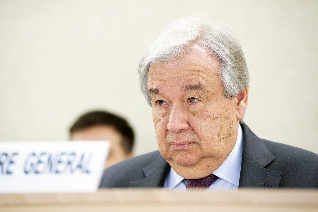 Katibu Mkuu wa Umoja wa Mataifa António Guterres akishiriki kikao cha gazi ya juu cha mkutano wa 43 wa Baraza la Haki za binadamu la UN huko Geneva Uswisi 24 Februari 2020