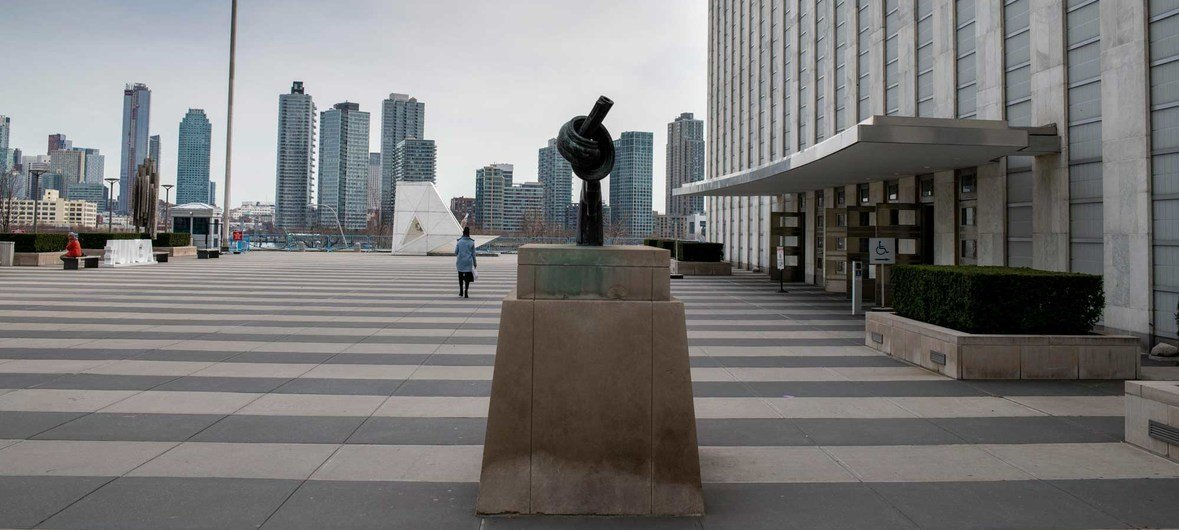 The Visitors Plaza at United Nations Headquarters would normally be bustling with people, but is closed to visitors during the pandemic..