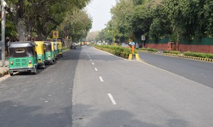 Deserted streets in the Indian capital, Delhi, during the nationwide lockdown to stop the spread of coronavirus.