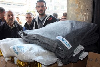 UNICEF blankets and food supplies are about to be distributed in Lattakia, Syria, as the UN calls for a country-wide truce.