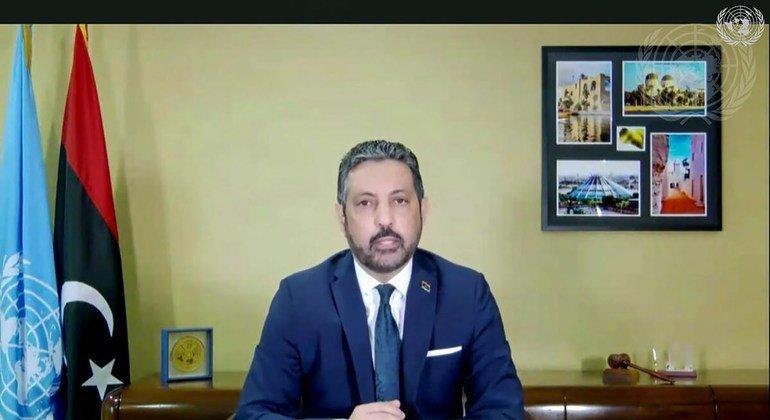 السيد طاهر السني، المندوب الدائم لليبيا لدى الأمم المتحدة، يطلع أعضاء المجلس عبر تقنية الفيديو، حول الوضع في ليبيا.