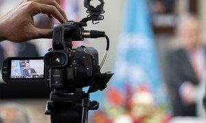 El Secretario General de la ONU durante una rueda de prensa virtual.