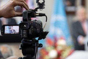 Генсек ООН Антониу Гутерриш провел виртуальную пресс-конференцию из штаб-квартиры ООН в Нью-Йорке.
