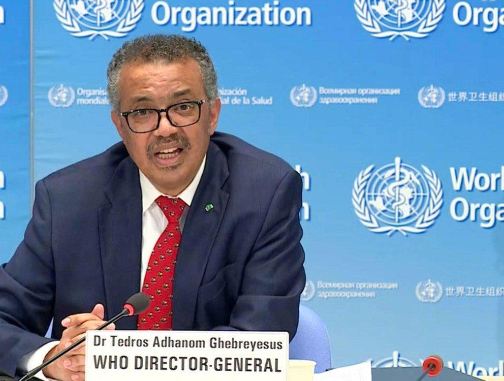 مدير عام منظمة الصحة العالمية، د. تيدروس أدهانوم غيبرييسوس، خلال أحد المؤتمرات الصحفية