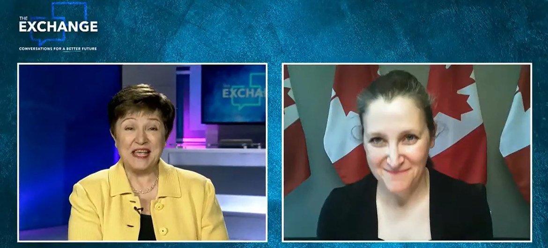 加拿大副总理兼财长克里斯蒂娅·弗里兰与国际货币基金组织总裁克里斯塔利娜• 格奥尔基耶娃