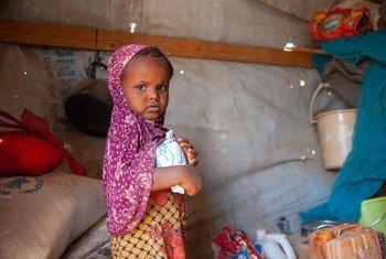 Une fillette de trois ans reçoit une aide alimentaire du PAM dans un abri pour personnes déplacées à Taiz, au Yémen.