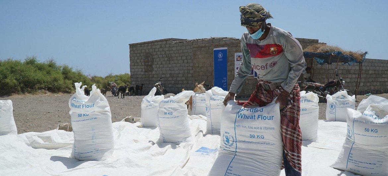 تتلقى العائلات التي نزحت بسبب النزاع والعنف في اليمن مساعدات غذائية من برنامج الغذاء العالمي.
