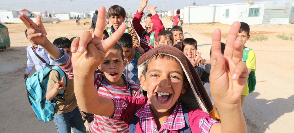 Refugee children at the Zaatari camp in Jordan.