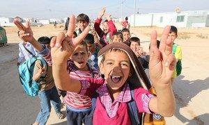 Niños refugiados en el campamento de Zaatari en Jordania.