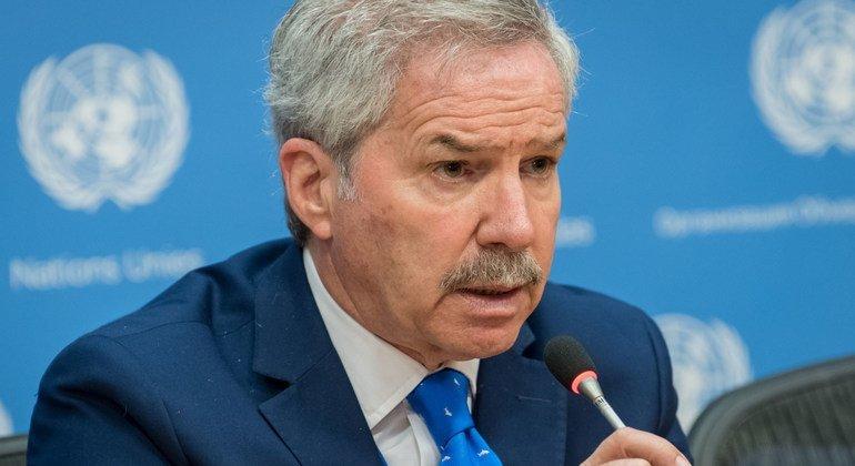 Felipe Carlos Solá, ministro de Relaciones Exteriores de Argentina, en una conferencia en la ONU.