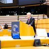 यूएन प्रमुख एंतोनियो गुटेरेश ब्रसेल्स में योरोपीय संसद के सत्र को सम्बोधित करते हुए.