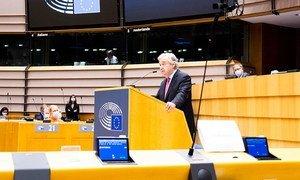 Глава ООН выступая в Европейском парламенте в Брюсселе