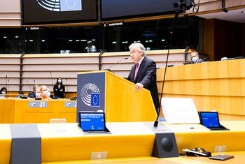 UN Secretary-General António Guterres delivers his remarks at the Plenary Session of the European Parliament in Brussels.