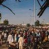 A street scene at a market in northeast Nigeria.