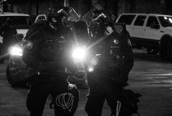 Policemen at the Black Lives Matter protest in Portland, Oregon, USA.