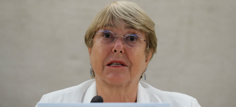 La Alta COmisionada de los Derechos HUmanos, Michelle Bachelet, se dirige al Consejo de Derechos Humanos