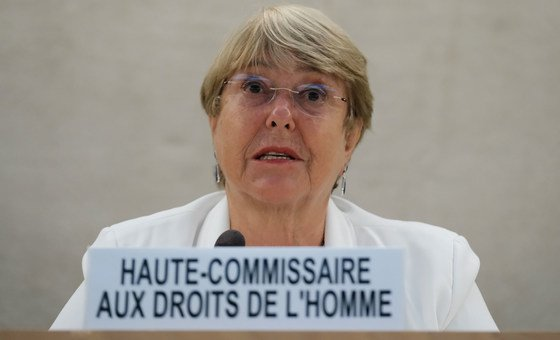 UN High Commissioner for Human Rights Michelle Bachelet addresses the Human Rights Council Special Session connected  Afghanistan.