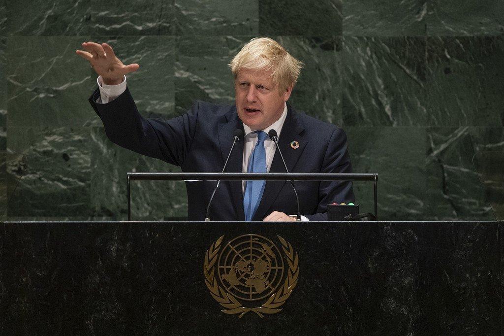Waziri Mkuu wa Uingereza Boris Johnson akihutubia mjadala mkuu wa Baraza Kuu la UN