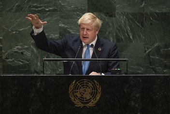 ब्रिटेन के प्रधानमंत्री बोरिस जॉन्सन ने मंगलवार को महासभा के 74वें सत्र के उच्चस्तरीय खंड को संबोधित किया. (24 सितंबर 2019)