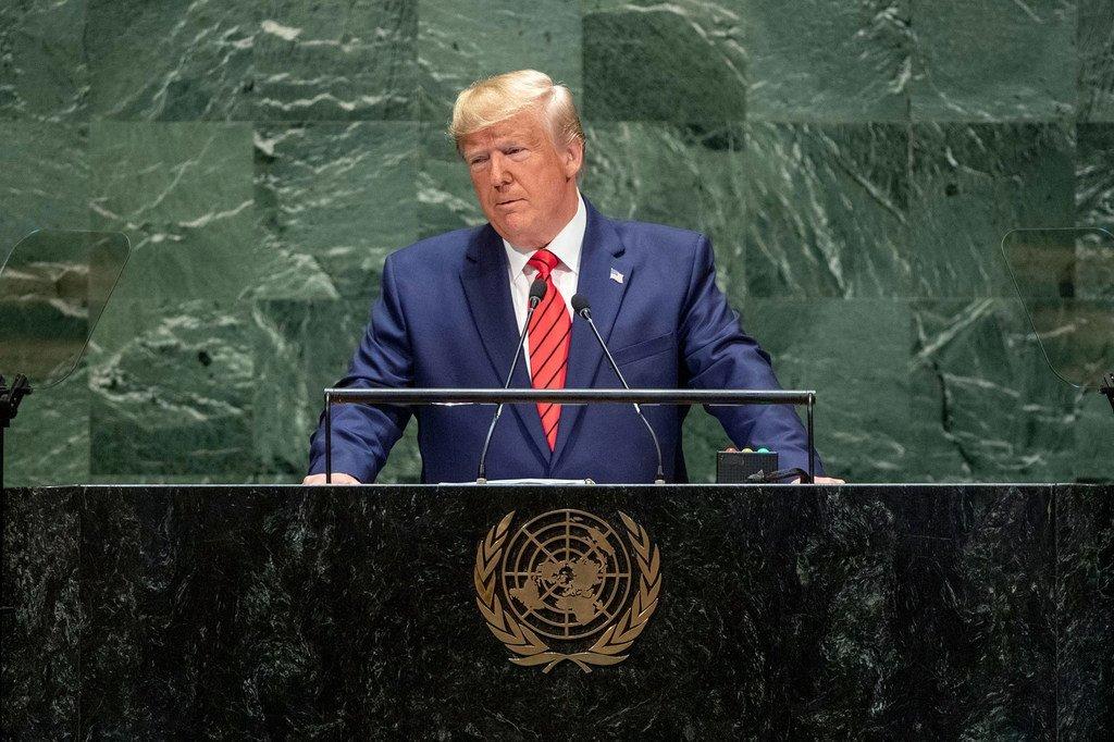 Rais Donald Trump wa Marekani akihutubia mjadala mkuu wa mkutano wa 74 wa Baraza Kuu la Umoja wa Mataifa (24 Septemba 2019)