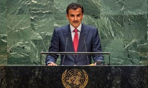 Sheikh Tamim bin Hamad Al-Thani, Emir of the State of Qatar, addresses the 74th Session of the United Nations General Assembly's General Debate. (24 September 2019)