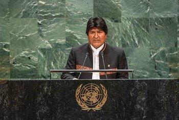 Evo Morales, presidente de Bolivia, en la Asamblea General de la ONU
