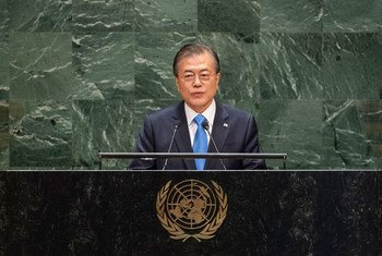 Moon Jae-in, President of the Republic of Korea, addresses the 74th Session of the United Nations General Assembly's General Debate. (24 September 2019)
