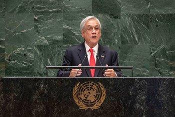 Sebastián Piñera Echeñique, presidente de Chile, durante su intervención en el 74ª periodo de sesiones de la Asamblea General de las Naciones Unidas.