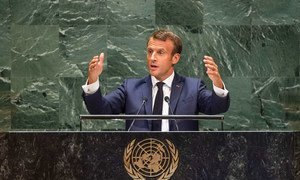 Emmanuel Macron, President of the Republic of France, addresses the 74th session of the United Nations General Assembly's General Debate. (24 September 2019)