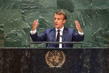 Emmanuel Macron, Président de la République française, prononce un discours lors de la 74ème session du débat général de l'Assemblée générale des Nations Unies. (24 septembre 2019)