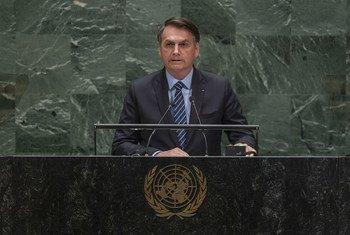 巴西总统博索纳罗出席联合国大会第74届会议一般性辩论。