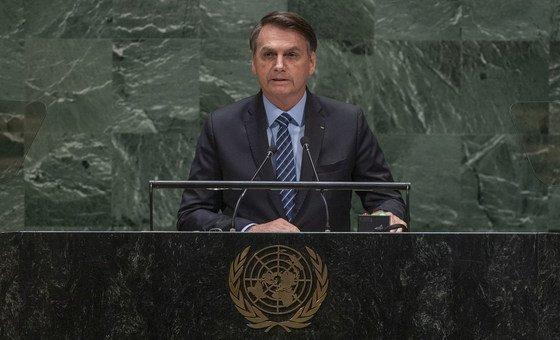 Jair Bolsonaro, presidente do Brasil, discursa na 74ª sessão da Assembleia Geral em Nova Iorque.