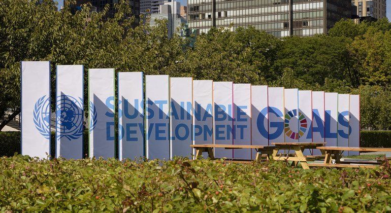 Sustainable Development Goals (SDGs) banners on the grounds of UN Headquarters, New York.