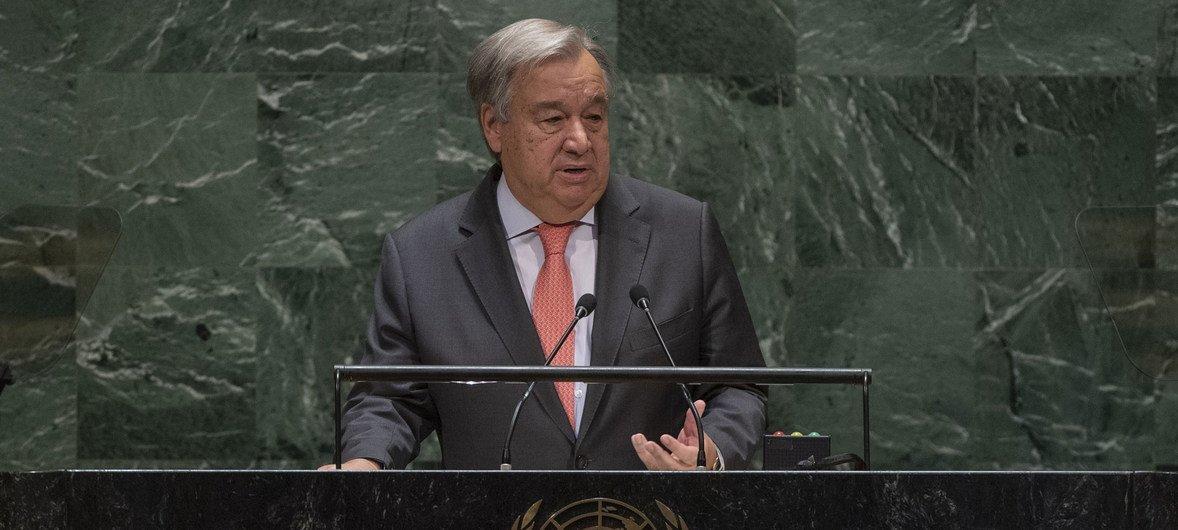 Secretário-geral da ONU, António Guterres, na Assembleia Geral