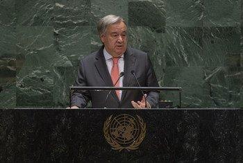 Katibu Mkuu wa Umoja wa Mataifa António Guterres akiwasilisha ripoti yake ya mwaka kuhusu kazi za Umoja wa Mataifa
