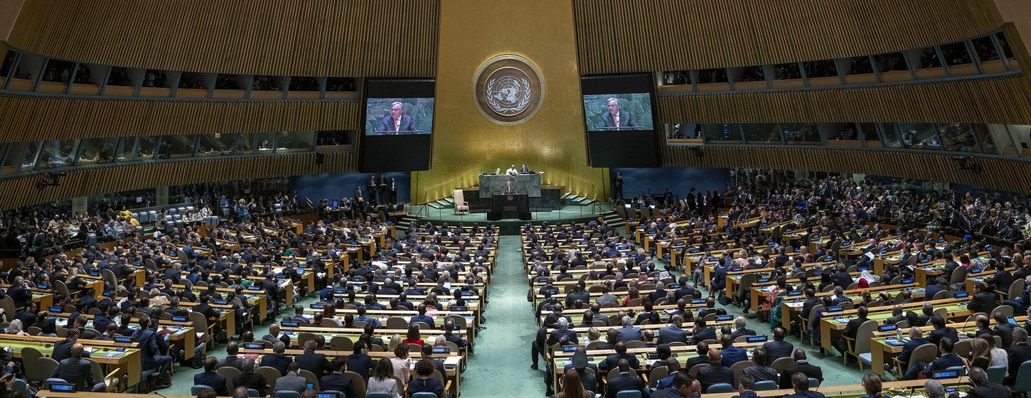 Wide shot of the General Assembly Hall as UN Secretary-General António Guterres addresses the opening of the General Debate of the 74th session of the General Assembly.