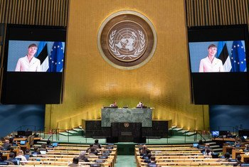 President Kersti Kaljulaid (on screen) of Estonia addresses the general debate of the General Assembly's seventy-fifth session.