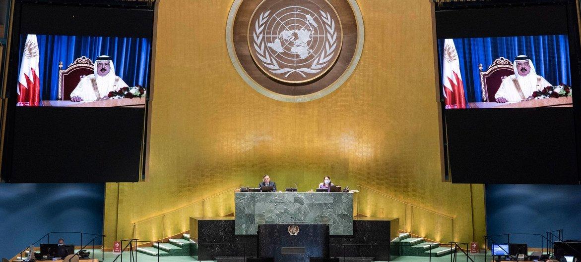 巴林王国国王哈马德·本·伊萨·阿勒哈利法在联合国大会第75届会议上发表视频讲话。