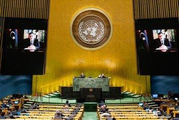 利比亚总理萨拉杰在联合国大会第75届会议上发表视频讲话。
