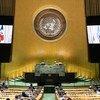 Le Présdent d'Haïti, Jovenel Moïse (sur l'écran), lors du débat général de l'Assemblée générale des Nations Unies.