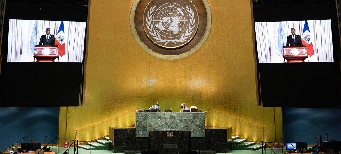 جوفينيل مويس رئيس هايتي أمام الجمعية العامة للأمم المتحدة