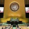 Presidentd Francisco Guterres Lú-Olo, de Timor-Leste, discursando
