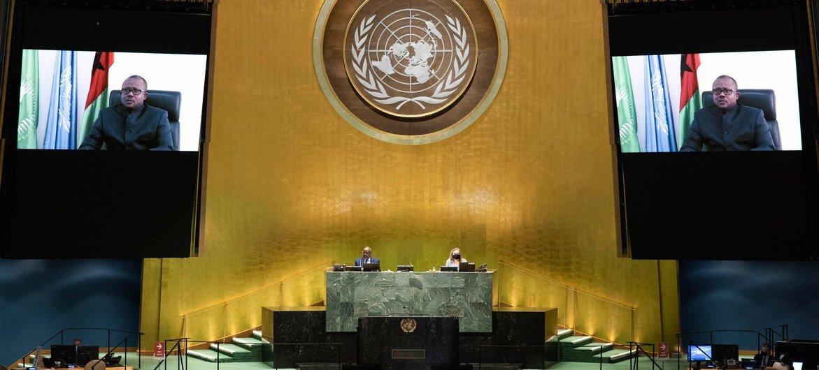 Presidente da Guiné-Bissau, Umaro Sissoco Embaló se dirigiu aos líderes internacionais em cinco minutos