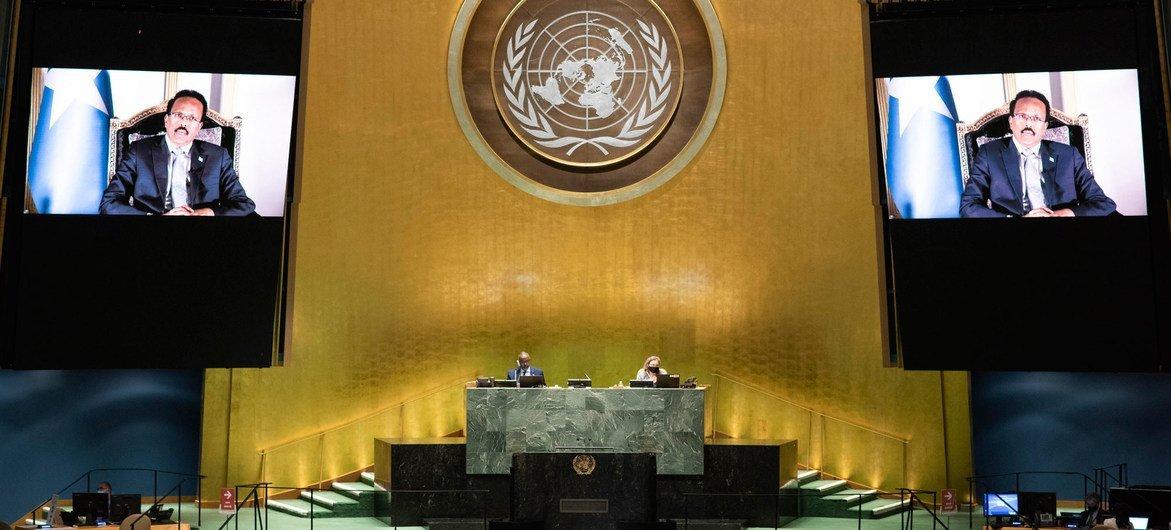 محمد عبد الله فارماجو رئيس الصومال أمام المناقشة العامة للدورة الخامسة والسبعين للجمعية العامة للأمم المتحدة