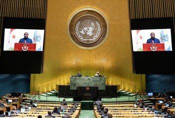 President Evariste Ndayishimiye (on screen) of Burundi addresses the general debate of the General Assembly's seventy-fifth session.